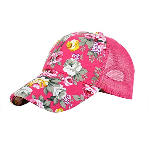 Eforstore Snapback Baseball Cap Floral Perforated Ball Caps Golf Hats Summer Mesh Hat for Women Teens Girls Hot Pink