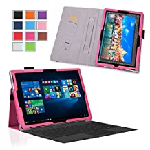 Surface Pro 4 Case - Exact [PRO Series] - [Professional][Drop Protection] Slim-Fit PU Leather Folio Case for Microsoft Surface Pro 4 Tablet Hot Pink