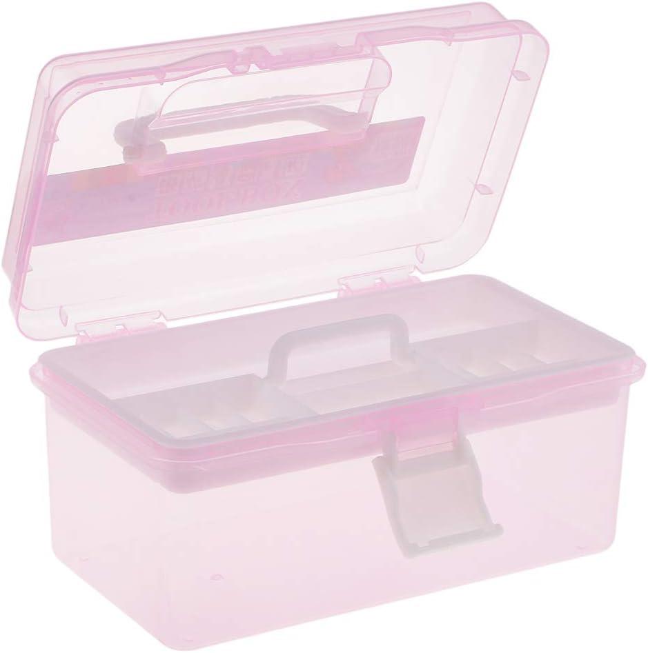 Rose Baoblaze Bo/îte de Rangement en Plastique Dur Transparent Organisateur de Couture /à 2 Couches Caisse de Stockage pour Peinture