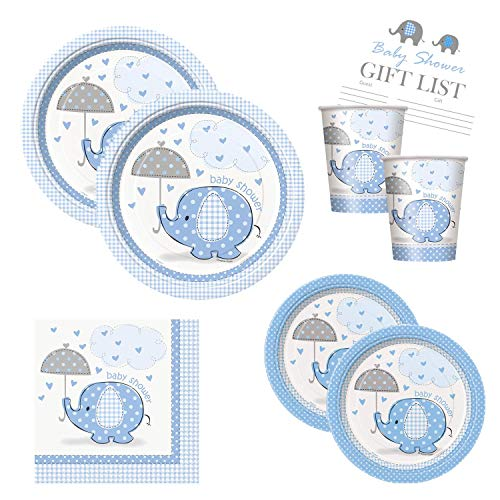 Boy Baby Shower Party Supplies Set - Blue Elephant Design Large Plates, Cake Plates, Cups and Napkins (Standard - Serves 16)