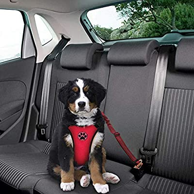 SlowTon Dog Car Harness Plus Connector Strap, Multifunction Adjustable Vest Harness Double Breathable Mesh Fabric with Car Vehicle Safety Seat Belt for Dogs Travel Walking Road Trip
