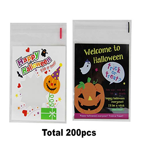 Halloween Candy Bags Bulk, 200 Pack Self-adhesive Trick or Treat Goody Bags for Cookie Candy with 2 Pumpkin Design 3.94x3.94 inch]()