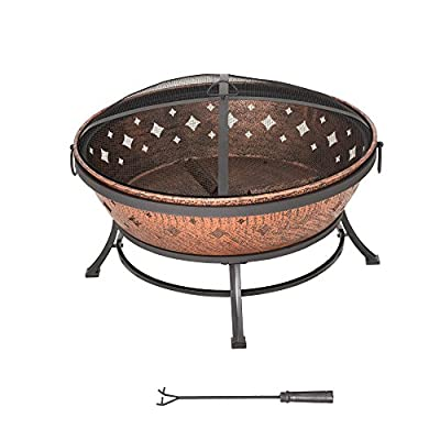 Sunjoy L-FT629PST Squaw Valley Firepit, Cozy Warmth - Large fire bowl gives cozy warmth to your patio, backyard, deck, lawn, or garden Spark guard protects against embers Each leg has a scuff protector to protect floors or surfaces from marring or impairment - patio, outdoor-decor, fire-pits-outdoor-fireplaces - 51RS vEJQ5L. SS400  -