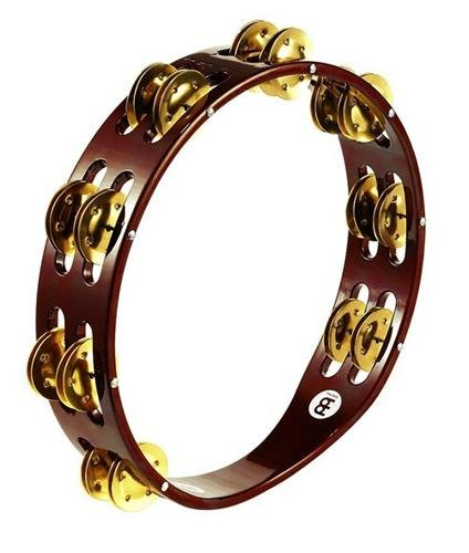 Meinl Percussion TA2B-AB Traditional 10-Inch Wood Tambourine with Double Row Brass Jingles