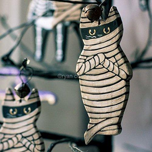 Mummy Cat Folk Art Clay Halloween Ornament