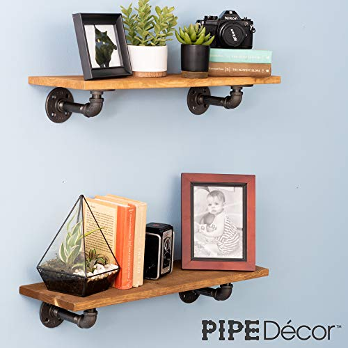 Rustic Pipe Decor Industrial Shelf Brackets – Double Flange Bracket Set of Four, Iron Metal Grey Black Fittings, Custom DIY Floating Shelves, Vintage Furniture Decorations, Wall Mounted (4 Inch Pipe) by PIPE DÉCOR (Image #2)