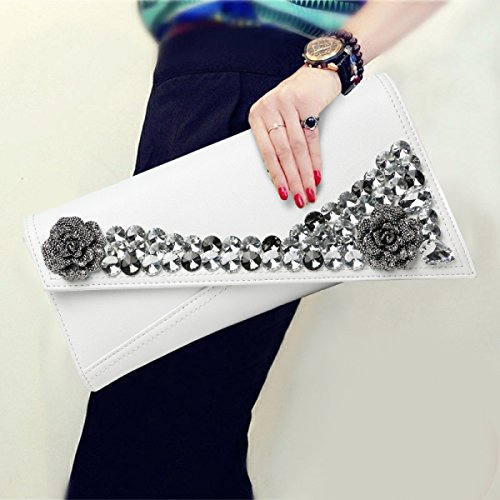 Rhinestone Bridal Bag Elegant Women's Clutch Evening Clutch Bags Flower Bag Shoulder Bag White wqYwxpBXd