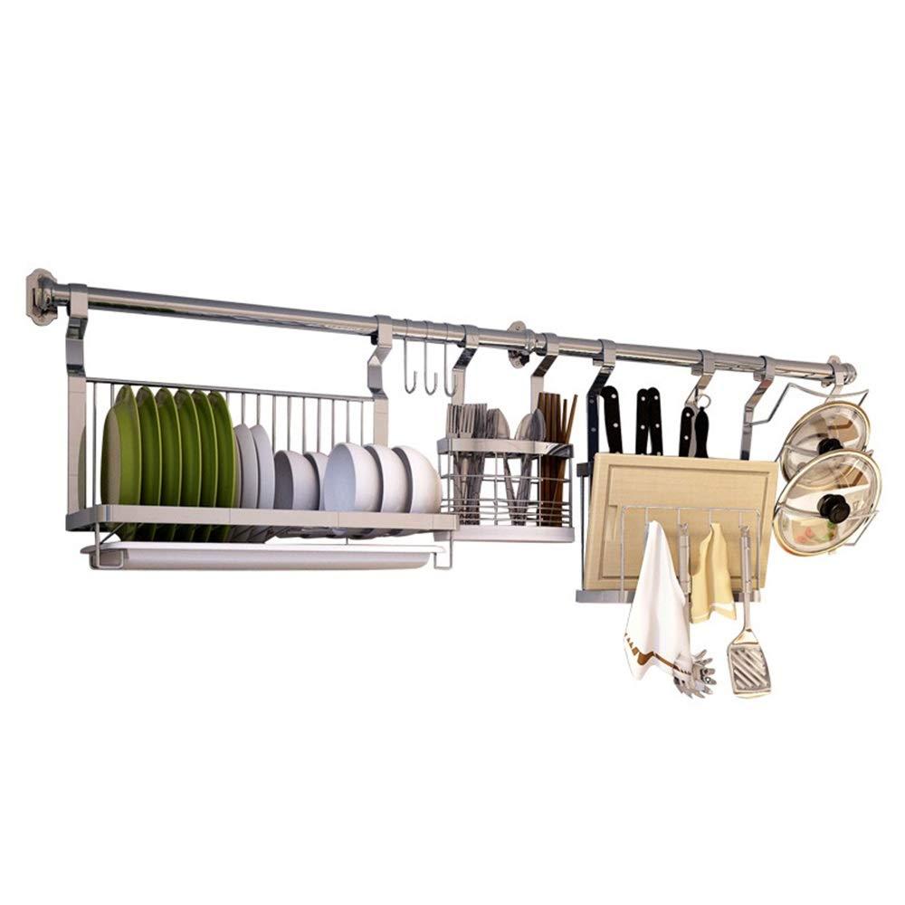 YChoice Rack Decor 304 Stainless Steel Kitchen Rack Kitchen Storage Supplies Wall-Mounted Punching Seasoning Storage Bowl Shelf (Size : 120cm)