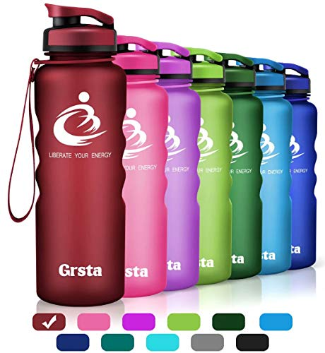 (Grsta Sport Water Bottle 40oz(1200ml), Wide Mouth Leak Proof BPA Free Eco-Friendly Plastic Drink Best Water Bottles for Outdoor/Running/Camping/Gym w Flip Top Lid & Filter Open with 1-Click (Dark Red))