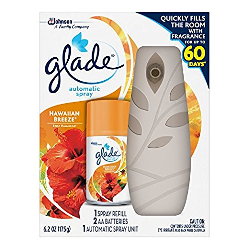 Glade Automatic Spray Air Freshener Starter Kit, Hawaiian Breeze (6.2 oz Pack of 8) by Glade