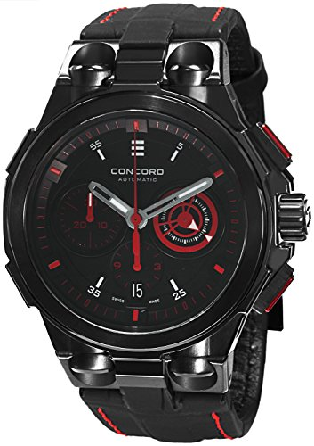 Concord C2 Automatic Chronogrph Men's Black Leather Strap Swiss Made Watch 0320187 ()