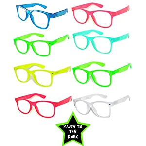 Retro Vintage Clear Lens Sunglasses Color Frames 8 Pack OWL.