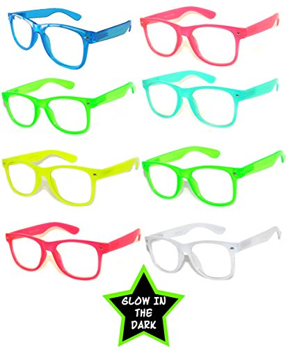 Retro Vintage Clear Lens Sunglasses Color Frames 8 Pack - Dark In Glow Lenses The