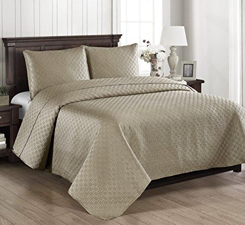 Brielle Basket Weave Quilt Set, King, Linen
