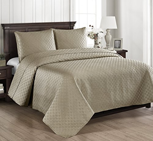 Ivory Silk Quilt - Brielle Basket Weave Quilt Set, King, Linen