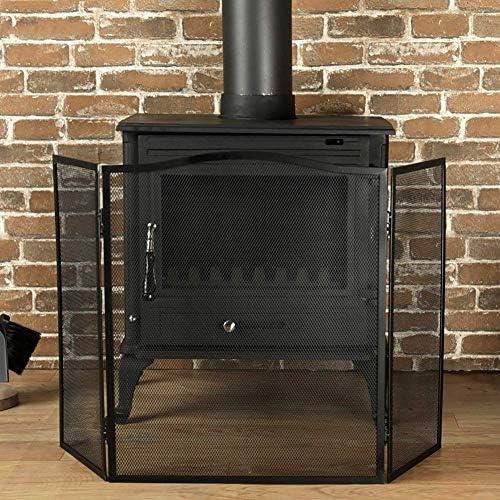 暖炉用品・アクセサリ 3パネル暖炉スクリーン装飾メッシュ、折り畳み式の鍛鉄スパークガードフェンスベビーセーフ証明、木材バーナー/ガス/ストーブ火災について (Color : Black)