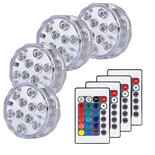 Huakway Remote Controlled Submersible Lights, 16 Multi-Colors 4 Modes LED Lights with Battery Powered (4-Pack)