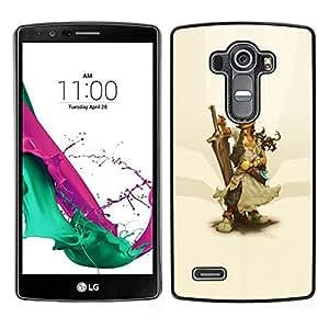 // PHONE CASE GIFT // Duro Estuche protector PC Cáscara Plástico Carcasa Funda Hard Protective Case for LG G4 / Warrior Woman & Sword /