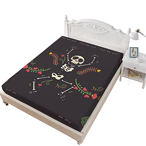 VITALE 1 Fitted Sheet Only, Halloween Printed Fitted Sheet Twin Size, Cartoon Dancing Skull Skeleton Printed 1 Piece Twin Size Deep Pocket Fitted Sheet Kids Bedding Decor for $<!--$24.95-->