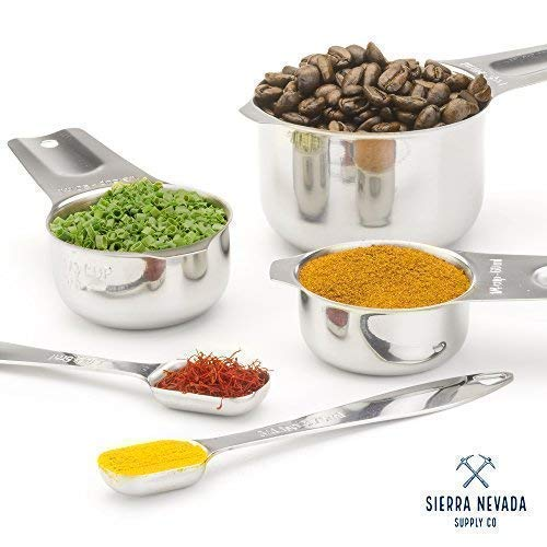 Professional Stainless Steel Measuring Cups and Spoons Set: 13 Pieces - 7 stackable cups AND 6 narrow spoons by Sierra Nevada Supply Company