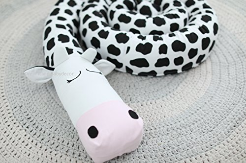 COW Baby Pillow, Handmade Pillow, Bolster Pillow by DreamLand Babydecor