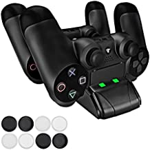 Pecham DualShock 4 Charging Station - PS4/PS4 Slim Controller Charger Dock - Modern Design & LED Indicator - USB Cable & 8 Thumb Grips for Joysticks Included