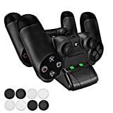 Pecham DualShock 4 Dual Charging Station – PS4/PS4 Slim Controller Charger Dock – Modern Design & LED Indicator – USB Cable & 8 Thumb Grips for Joysticks Included – Black