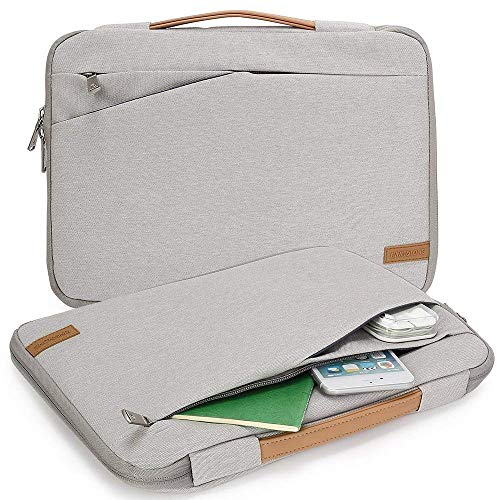KINGSLONG Laptop Sleeve Case 17 Inch Ultra-Slim Padded Laptop Computer Pouch Bag Cover with Handle Pocket Tablet Briefcase Carrying Bag Compatible with Acer/Asus/Dell/Lenovo Waterproof (Grey) ()