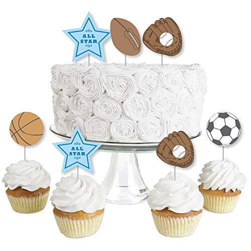All Star Sports - Dessert Cupcake Toppers - Baby Shower or Birthday Party Clear Treat Picks - Set of -