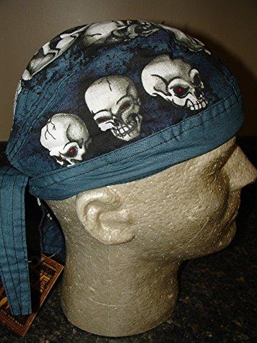 Danbanna Deluxe Head Wrap Durag Skull Cap Blue Grey Black White Skull Pile Up (Deluxe Skull Cap)