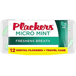 Plackers Micro Flosser with Travel Case, Mint, 12 Count
