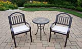 Cheap Oakland Living 3 Piece Stone Art Rochester Bistro Set, Black/Hammertone Brown