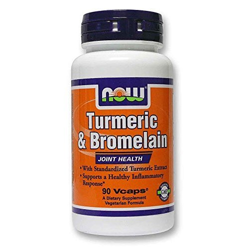 Now Foods Turmeric and Bromelain Veg Capsules,90 Count-2 Pack by NOW
