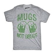 Mens Mugs Not Drugs Funny Irish Cheers Vintage St. Patrick's Day T shirt