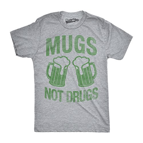 Crazy Dog T-Shirts Mens Mugs Not Drugs Funny Irish Cheers Vintage ST. Patrick's Day T Shirt (Grey) M
