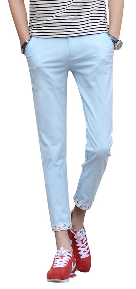 Plaid&Plain Men's Lightweight Summer Pants Cropped Pants Men's Slim Fit Pants 9981LightBlue 31