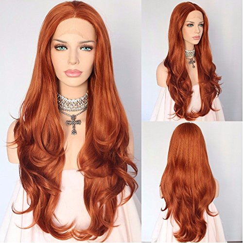 Sapphirewigs Tangerine Orange Natural Wavy Beauty Blogger Daily Makeup Wedding Hair Party 24'' Synthetic Lace Front -