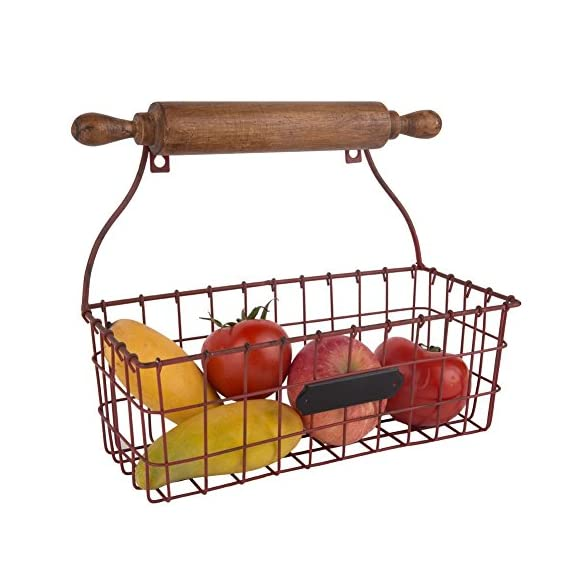 NIKKY HOME Decorative Wall Mounted Hanging Metal Wire Mesh Storage Basket with Rolling Pin, Red - Made of metal and wood with a distressed red finish Measures approx.12-1/4x5-3/8x10-1/4;Color: red Decorative, versatile storage basket with a wooden rolling pin design, needs 2 screws for hanging - wall-shelves, living-room-furniture, living-room - 51RS3 ydhFL. SS570  -