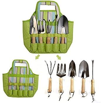 Garden Tools Set 7 Piece With Tote Bag Including Weeder, Rake, Trowel,  Transplanter