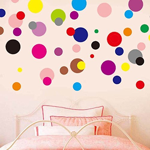 LiveGallery 120pcs Removable Multi-color Polka Dot Wall Decals Circle Dots Wall Stickers DIY Wall art Decor Nursery Decals Just Peel and Stick Kids Rooms Decal Home Decorations Decor LG-B705