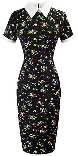 HOMEYEE Women's Celebrity Turn Down Collar Business Bodycon Dresses(S,Black+Floral-Short Sleeve)