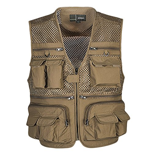 Zhhlaixing Buena Photography Vest Multifunction Mesh Gilet Fishing for Khaki Summer Gift Day tela Mens Thin and Father's rrzdvw