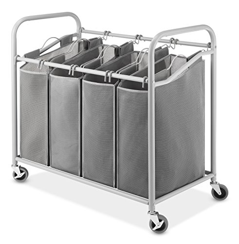 Four Section (Whitmor 4-Section Laundry Sorter Cart-Heavy Duty, Durable Metal Frame & Handles – Large Hanging Bags with Plastic Grips, Laundry Room Hamper Organizer with Lockable Caster Wheels (Paloma Grey))