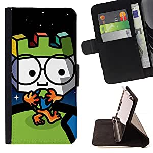 DEVIL CASE - FOR Samsung ALPHA G850 - Cute Globe Man - Style PU Leather Case Wallet Flip Stand Flap Closure Cover