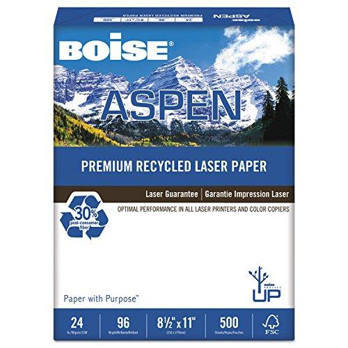 Boise BPL2411RC ASPEN Premium Laser Paper, 96 Bright, 24lb, 8-1/2 x 11, White, 500 Sheets/Ream