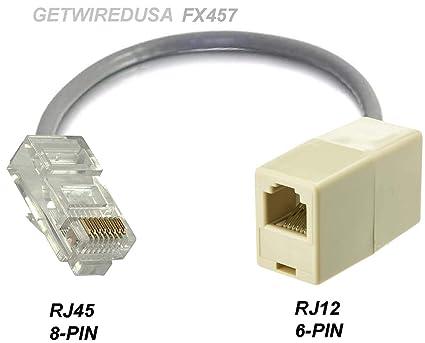 amazon com rj12 rj11 6p6c 6 pin female to rj45 cat5 ethernet 8p8c