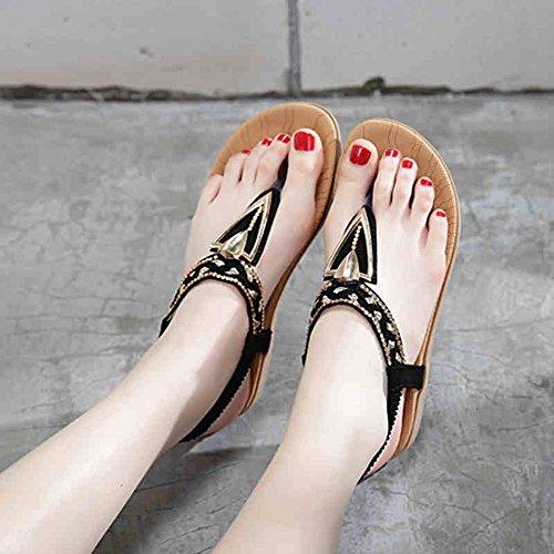 HAIZHEN Women shoes Women's Sandals Spring Summer PU Casual Flat Heel With 2 Colors for Women (Color : 1, Size : EU36/UK3.5/CN35) 1