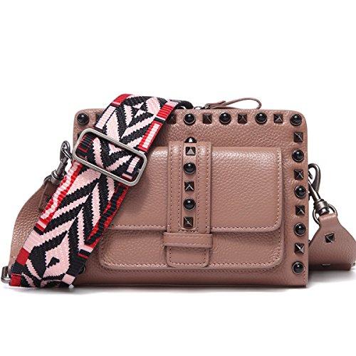 Bag Femmes Mini Véritable Larges Main Sac Bandoulière En Bretelles Totes Sacs À Cuir Rivets Pink red Messenger Gshga 6wdf4qf