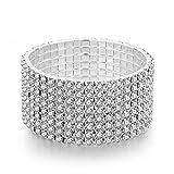 Long Way Women 8 Row Silver-Tone Clear Rhinestone Stretch Bridal Crystal Elastic Bracelet for Wedding