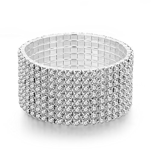 Long Way Women 8 Row Silver-Tone Clear Rhinestone Stretch Bridal Crystal Elastic Bracelet for Wedding